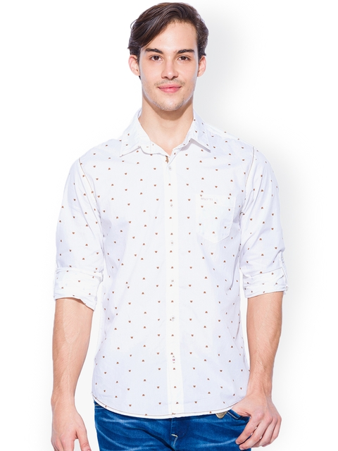 Mufti White Printed Slim Fit Casual Shirt