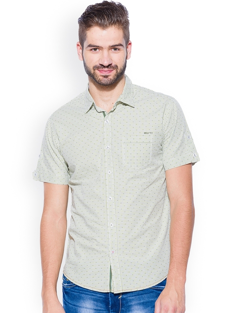 Mufti Green Printed Slim Fit Casual Shirt