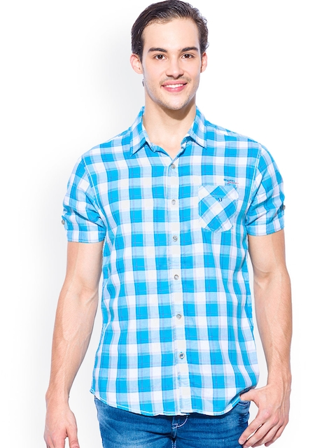 Mufti Turquoise Blue Checked Slim Fit Casual Shirt