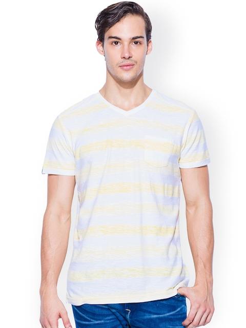 Mufti Yellow & White Striped Slim Fit T-shirt