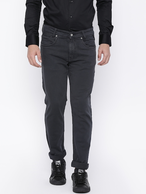 Mufti Men Charcoal Regular Fit Mid-Rise Clean Look Stretchable Jeans