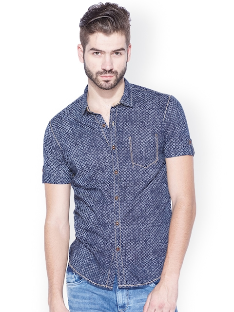 Mufti Navy Printed Slim Fit Casual Shirt