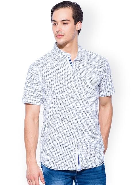Mufti White & Blue Printed Slim Fit Casual Shirt