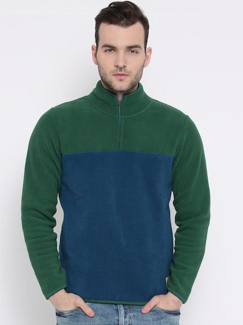 United Colors of Benetton Green & Blue Panelled Sweatshirt