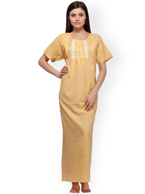 Vedvid Yellow & White Checked Maternity Maxi Nightdress BCFD