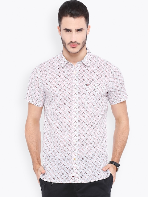 Tommy Hilfiger White Printed Casual Shirt