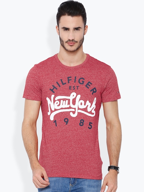 Tommy Hilfiger Red Washed Printed T-shirt