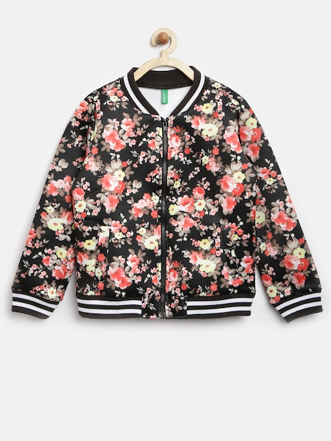 United Colors of Benetton Girls Black Floral Print Jacket