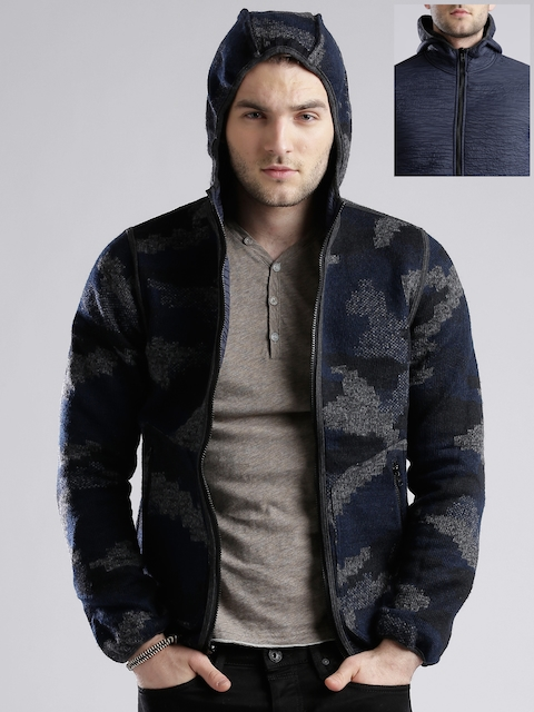 GAS Navy Padded Reversible Hooded Slim Fit Jacket