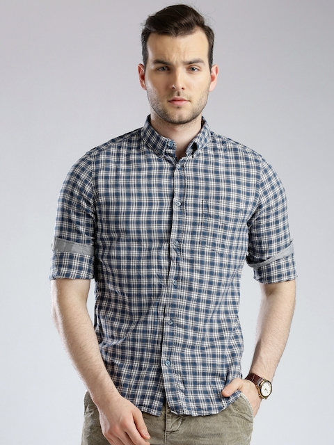 GAS Blue & Off-White Checked Slim Casual Shirt  available at myntra for Rs.2744