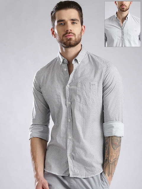 GASGrey & Off-White Printed Slim Reversible Casual Shirt  available at myntra for Rs.3294