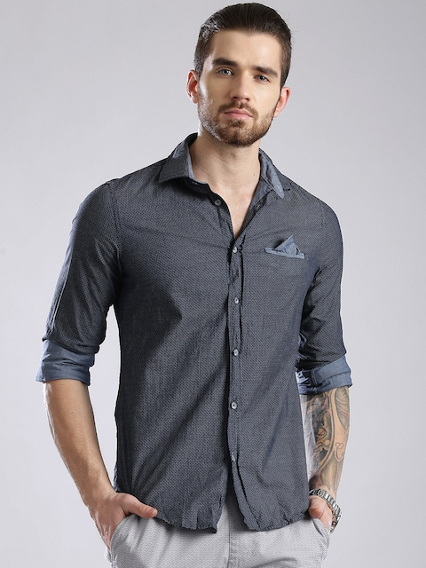 GAS Navy Printed Crinkled Slim Fit Casual Shirt  available at myntra for Rs.2744