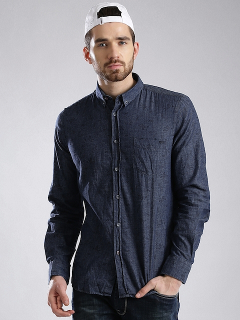 GAS Blue Printed Slim Fit Casual Shirt  available at myntra for Rs.2744