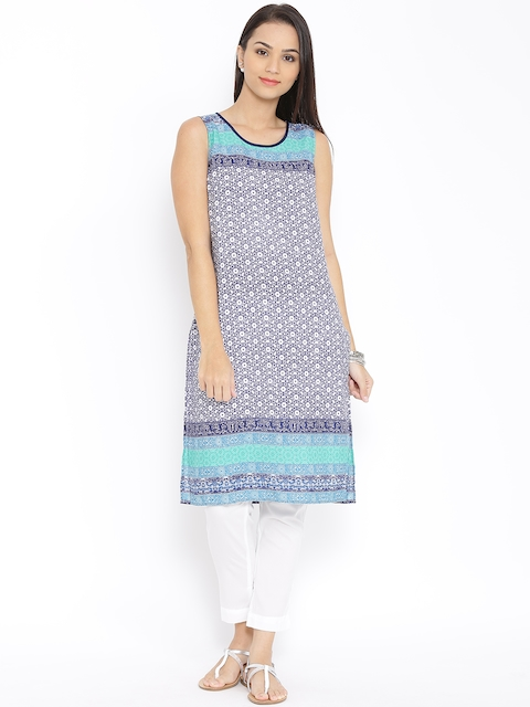 Aurelia Navy & Off-White Printed Kurta  available at myntra for Rs.419