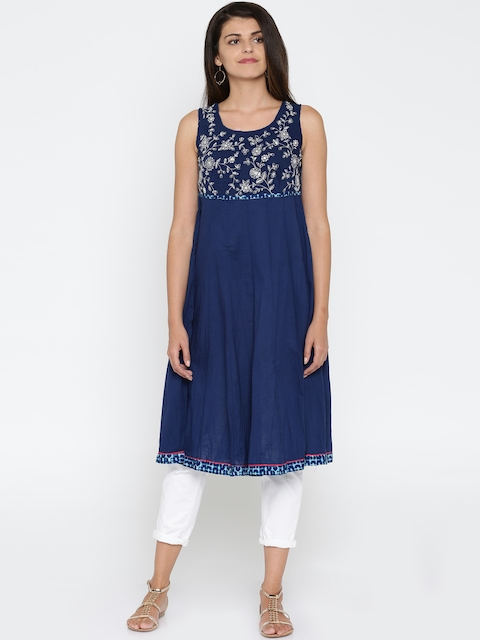 BIBA Blue Embroidered Anarkali Kurta  available at myntra for Rs.1079