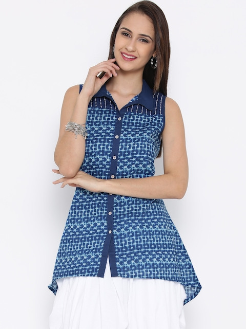 BIBA Blue Printed High-Low Tunic  available at myntra for Rs.539