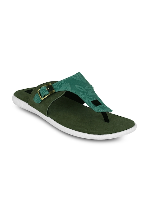 Kielz - - Kielz Men Olive Green Printed Sandals