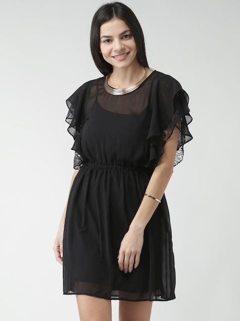 FOREVER 21 Black Sheer A-Line Dress