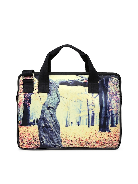 DressBerry Women Cream-Coloured Printed Laptop Bag