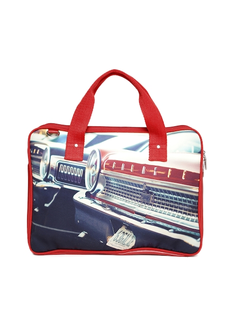DressBerry Women Cream-Coloured & Red Printed Laptop Bag