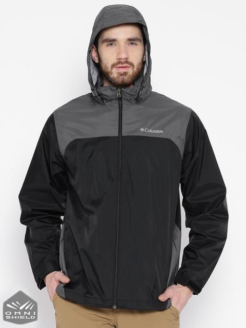 Columbia Black Glennaker Lake Rain Jacket with Detachable Hood