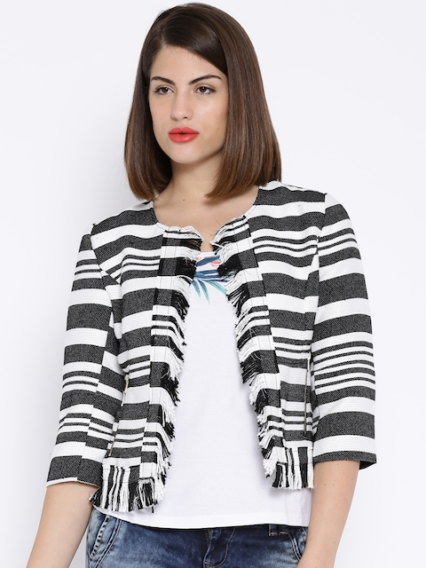 ONLY ONE Black & White Striped Jacket
