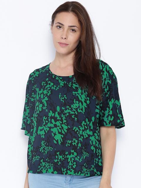 Van Heusen Woman Navy & Green Printed Top