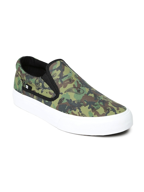 DC Men Green Camouflage Print Slip-Ons