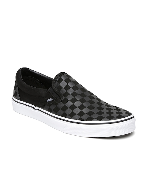 Vans Men Black & Grey Checked Classic Loafers