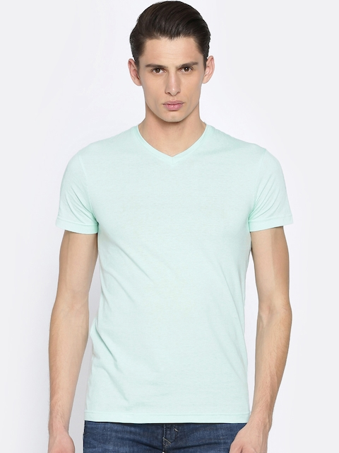 People Men Blue Solid V-Neck T-shirt  available at myntra for Rs.224