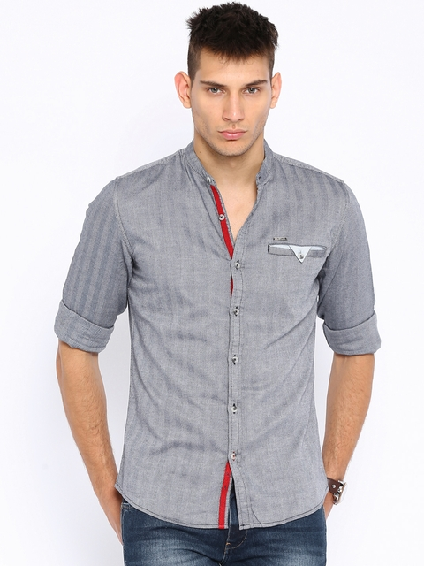 Wrangler Grey Herringbone Woven Casual Shirt