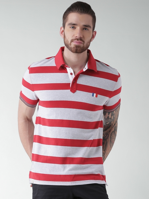 Celio Red & Grey Melange Striped Polo T-shirt  available at myntra for Rs.759