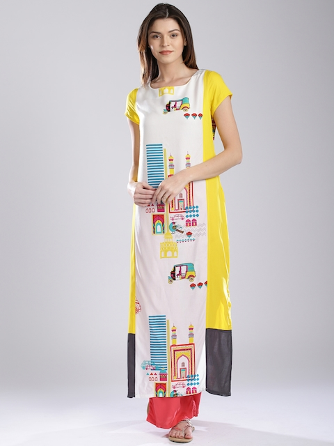 W Off-White & Yellow Printed Kurta