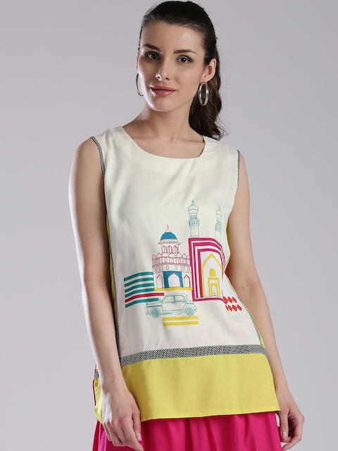 W Off-White & Pink Printed Kurti  available at myntra for Rs.779