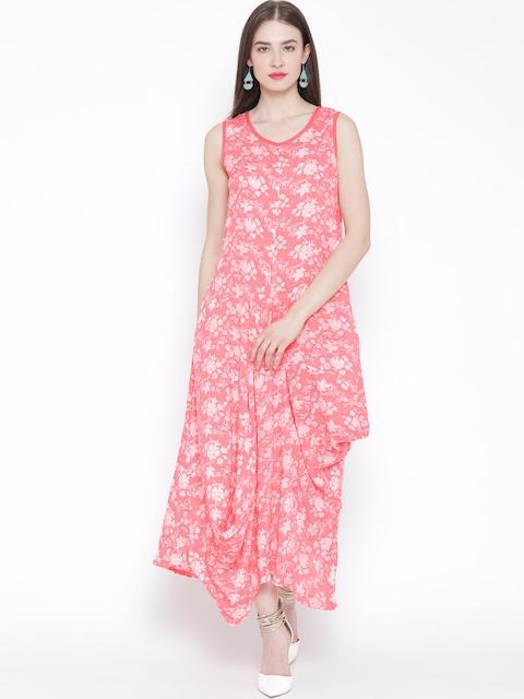 BIBA Coral Pink Floral Print Maxi Dress