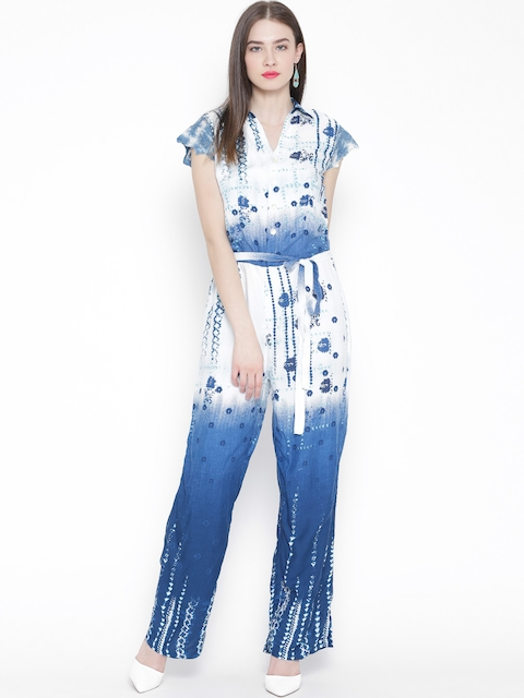 BIBA White & Blue Printed Jumpsuit with Belt