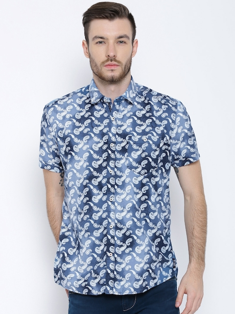 Killer Blue Paisley Print Lean Fit Casual Shirt