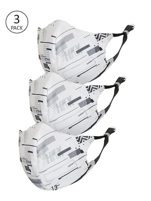 HRX by Hrithik Roshan Unisex Pack of 3 White Protekt-X Reusable 4-Ply Facemasks