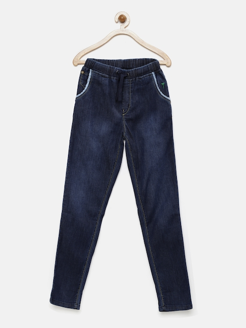 Gini and Jony Girls Blue Washed Stretchable Jeans