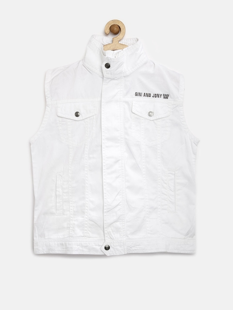Gini & Jony Boys White Sleeveless Jacket