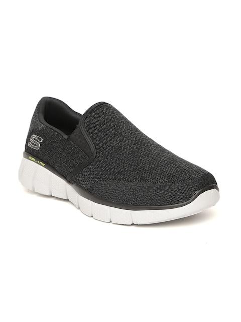 Skechers Men Black Equalizer 2.0 Woven Design Walking Shoes