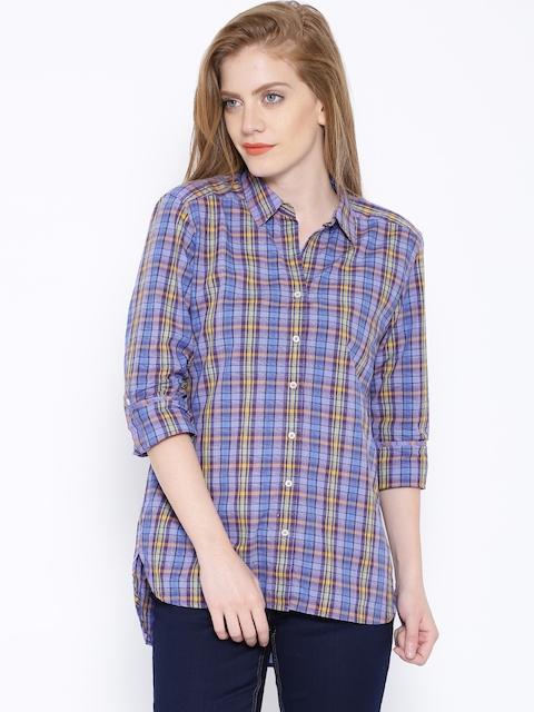 Tokyo Talkies Purple & Blue Checked Casual Shirt