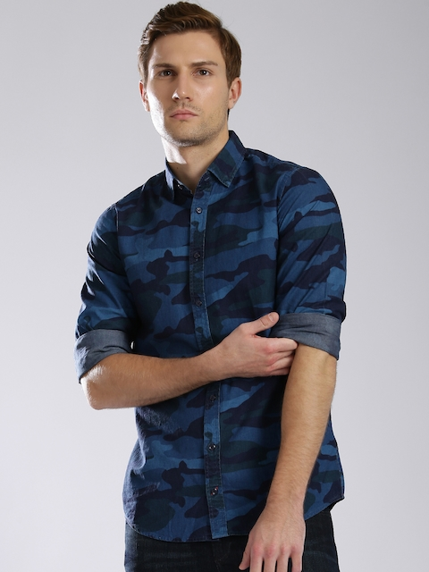 Tommy Hilfiger Blue Camouflage Print Casual Shirt