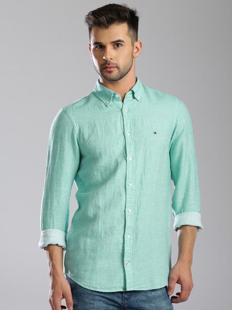 Tommy Hilfiger Green Linen Casual Shirt