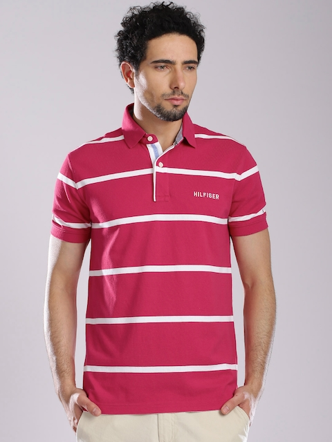 Tommy Hilfiger Pink & White Striped Polo T-shirt