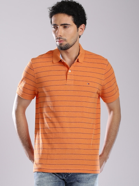 Tommy Hilfiger Orange Striped Polo T-shirt