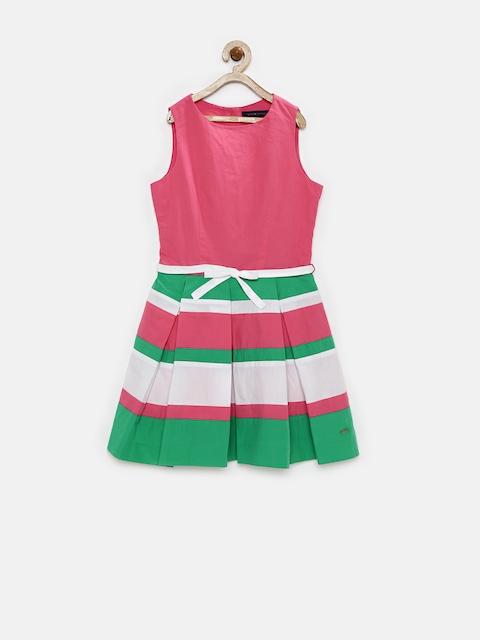 Tommy Hilfiger Girls Pink & Green Fit & Flare Dress