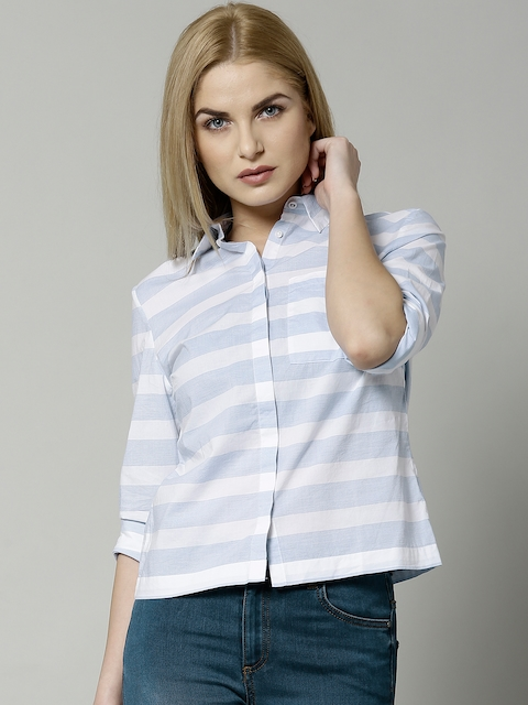 Marks & Spencer Blue Pure Cotton Striped Shirt