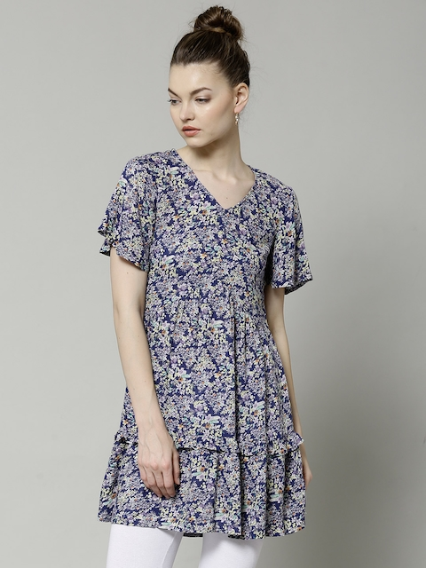 Marks & Spencer Navy Floral Print Tiered A-line Tunic