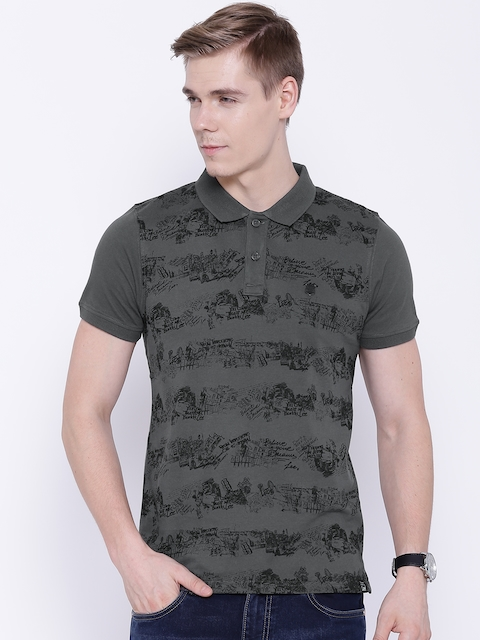 Lee Grey Printed Polo T-shirt
